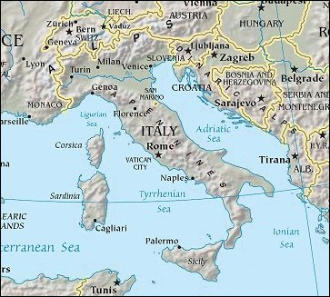 Map of Region around Italy